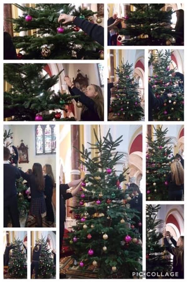 Abbey SVP Group decorate Church Christmas Tree